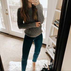 St. John's Bay Speckled Gray Cable Knit Sweater